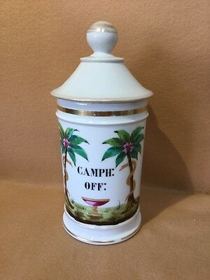 Large French Antique Porcelain Apothecary Pharmacy Jar Camph, Off,19th c