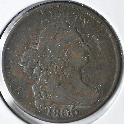 1806 1/2C Large 6 Stems Draped Bust Half Cent Circulated Fine
