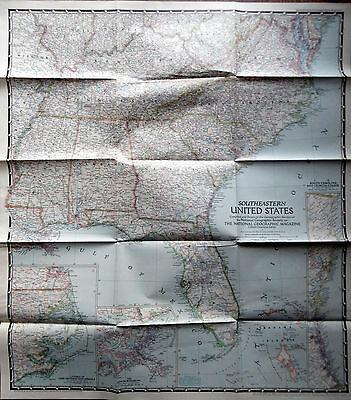 1947 National Geographic SOUTHEASTERN United States Map
