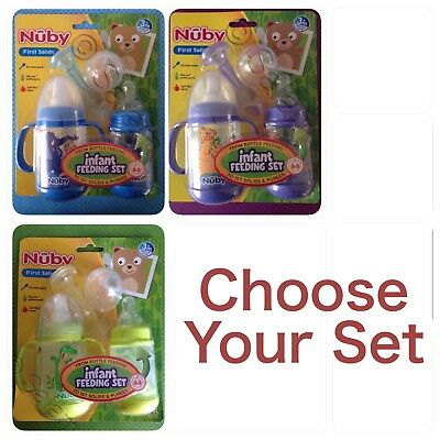Nuby 2 Pack Infa Feeder Set 2 & 4 Oz Infant Baby Bottles Feeding Spoons
