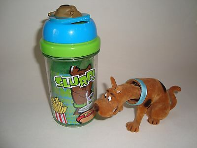 Vintage Scooby Doo Flocked Bobble Head & Collectible Cartoon Insulated Straw Cup