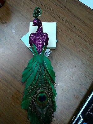 peacock decor, peacock ornament in purplr, green & gold with feather