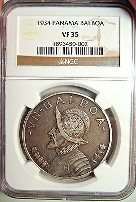 1934 Panama Balboa Ngc Certified Vf 35~Large Silver Coin~Cool Collectible  !
