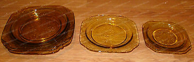 "Federal Depression Glass Plates, Saucers (Madrid, Amber) Set (9) 9"", 7 1/2"", 6"""