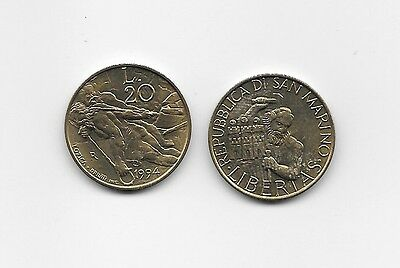 San Marino Rep 20 Lire 1994R Unc Stone Cutter, Workers Pulling Stone