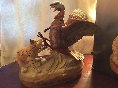 Limited Edition handcrafted porcelain decanter Wild Turkey & Bobcat