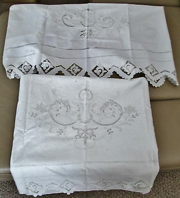 Antique Italian Linen Sheet & Pillow Layover Sham SPECTACULAR Embroidery Cutwork