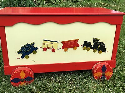 Vintage 1960S Toy Chest Box Wood Trains