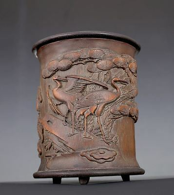 Elegant Old Chinese Hand Carving Cranes Bamboo Brush Pot Collection