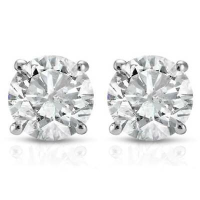 1/2Ct Round Genuine Diamond Studs Earrings in 14K White Or Yellow Gold