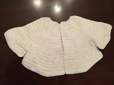 VINTAGE HAND CROCHET BABY INFANT SWEATER - White  12-18 Mos