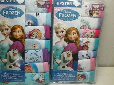 Pack of 7 Disney Girls Size 8 Frozen Elsa Anna Olaf 100% Cotton Hipster 2 styles