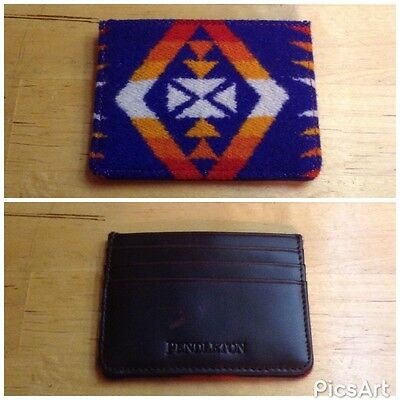 Pendleton Leather & Wool Small Wallet Card Holder Native Western