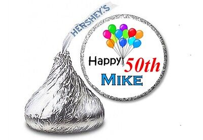 108 BIRTHDAY BALLOONS 50th 60th ANY AGE Hershey Kisses Labels Personalized Favor