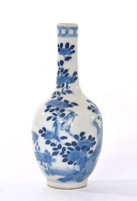 Early 20C Chinese Blue & White Porcelain Vase Bird & Butterfly