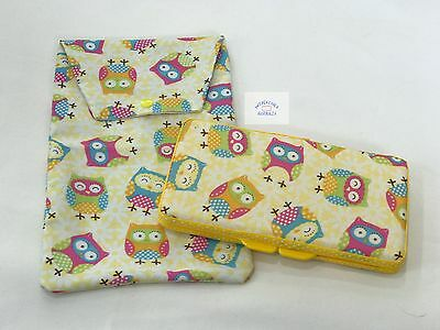 Yellow Owls Wipes Case & Nappy Pouch - Perfect Gift For Baby Shower