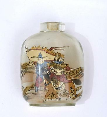 Chinese Inside Hand Painted Reverse Painting Glass Snuff Bottle Warrior Figure