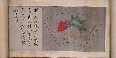 """Very Long Old Chinese Scroll Hand Painting Vegetables Insects Marked """"LiRuiQing"""""""