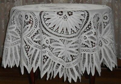 "Antique Handmade Renaissance Lace Battenburg Tape Lace Round 50"" Tablecloth"