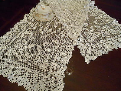 Vintage Filet Net Lace Cotton Table Dresser Runner Scarf Doily 16x54""