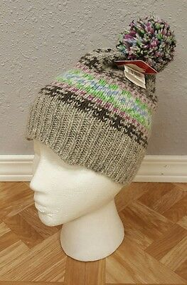 Women's New Old Navy Gray Sparkle Beanie Winter Snow Cap Hat with Pom One Size
