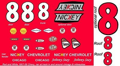 #8 JOHNNY SEAY 1957 CHEVROLET BEL AIR 1/24th - 1/25th Scale Decals