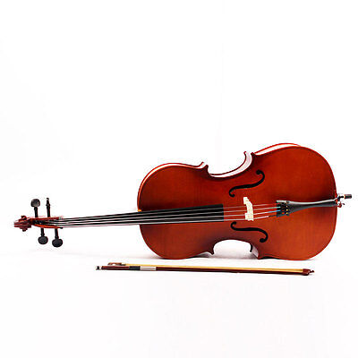 1/4 Size Handmade Maple Wood Classic Brown Cello Set Solo Bow + Rosin+ Carry Bag