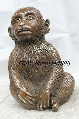"""12"""" Antique Chinese Dynasty Bronze Fengshui Zodiac Year Monkey Statue"""