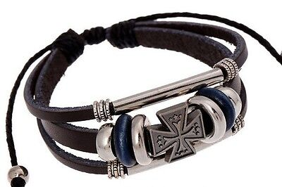 Latest Fashion, cool multilayer leather wrist band unisex Small Maltese Cross