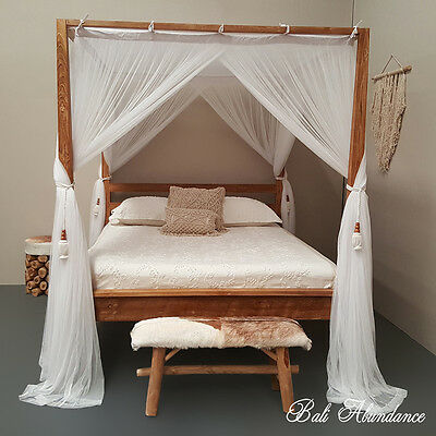 COMO Minimalistic Four Poster Canopy Bed Head Vintage Teak Wood Queen Size
