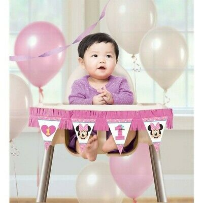 Minnie Mouse 1st Birthday High Chair Decorating Kit Girl Party Supplies