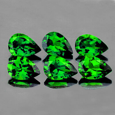 5x3 mm PEAR 6 PIECES NATURAL INTENSE CHROME GREEN DIOPSIDE [FLAWLESS-VVS]