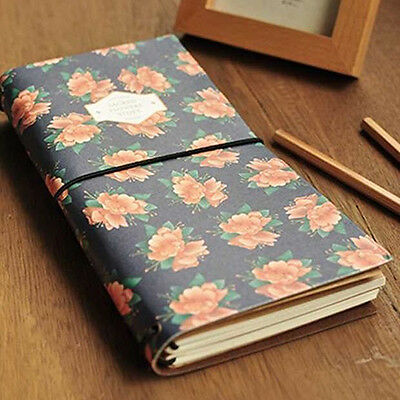 Flower Pattern Girl's Diary Vintage Travel Journal Notebook Pocket Memo Novelty