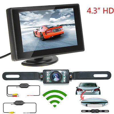 """4.3"""" TFT LCD Monitor Rear View Wireless System Backup Reverse Camera NightVision"""