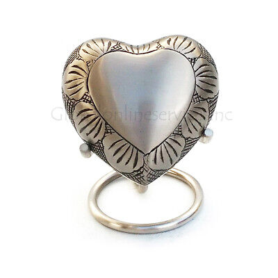 Pewter Leaf Band Heart Keepsake Urn with Stand & Velvet Box, Small Cremation Urn