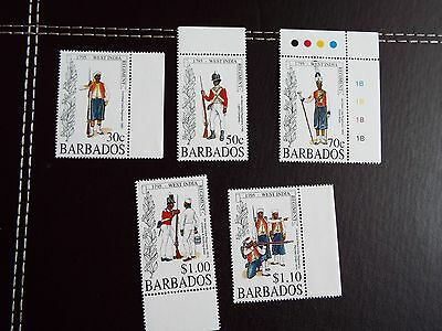 Barbados: 1995 200th Anniv' of West India Reg't Set of 5 UMM (MNH)