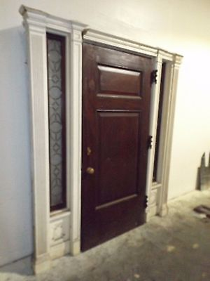 Antique 1900 Victorian Georgian Mahogany Door w/ Leaded Glass Side Windows