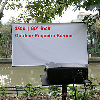 Portable 16:9 Projector Screen 60'' inch 3D HD Outdoor Projection Home Cinema UK