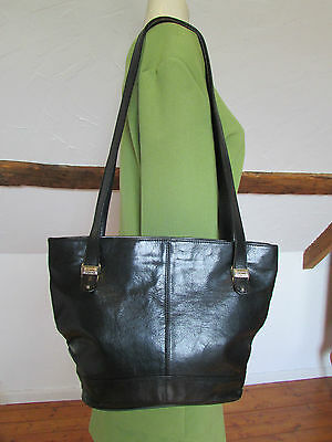 Vintage Thick Real Leather PARIS ROMA TOKYO Designer Black Bucket Bag Shoulder