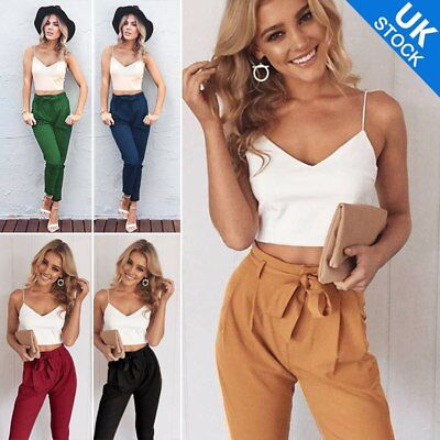 Women 2 Pieces Set Bodycon Crop Top+Long Pants Casual V Neck Jumpsuit Romper