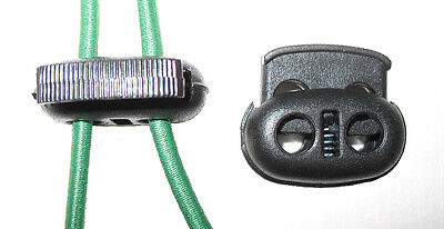 Twin hole (double) cord locks, Oval Style, for 3-4mm elastic shock/bungee cord