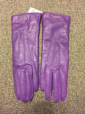 Coach New Womens Purple Leather Driving Gloves Cashmere NWT