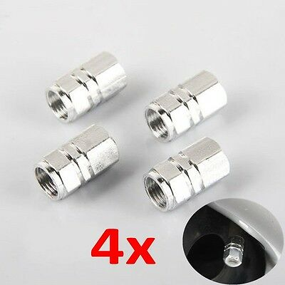 4x Aluminum Tire Wheel Rims Stem Air Valve Caps Tyre Cover Car Truck Bike Silver