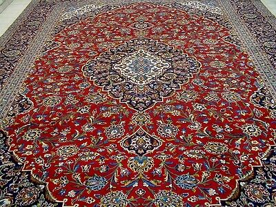 10X13 1940's SPECTACULAR AUTHENTIC HAND KNOTTED ANTIQUE WOOL KASHAN PERSIAN RUG
