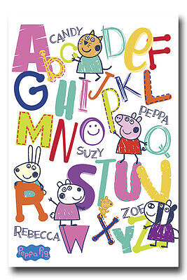 Peppa Pig Alphabet Pre School Poster New - Maxi Size 36 x 24 Inch