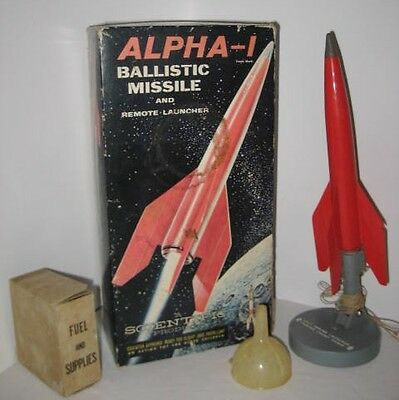 "Old Toy Ballistic Missile + Launcher 12"" Alpha-1 w Box Scientific Products 1950s"