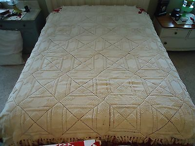 """Antique Hand Crocheted Bedspread  83"""" x 71"""""""