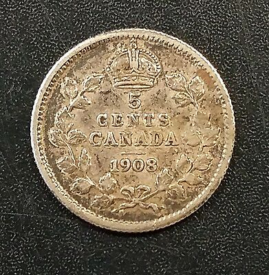1908 5 Cents silver coin from Canada! Nice condition!