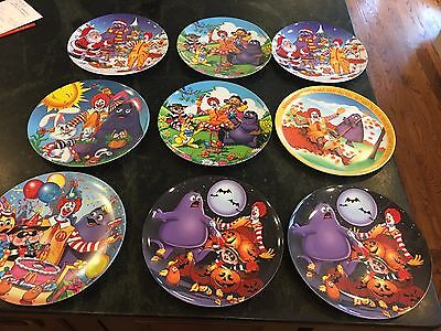 """Lot of 9 McDonalds Plates 1977 1996 2000 9 1/2"""" Plastic Collector's Plate Plates"""