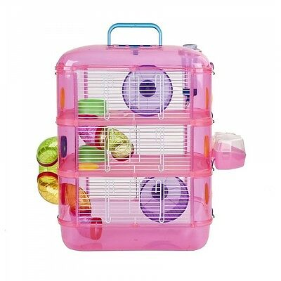 Pink Hamster Cage, 3 Story With Tubes, Gerbil Cage Pet World - Brand new!